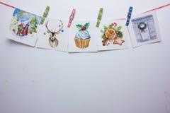 Κάρτες Χριστουγέννων Watercolor σε ένα άσπρο υπόβαθρο Στοκ Εικόνα
