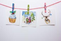 Κάρτες Χριστουγέννων Watercolor σε ένα άσπρο υπόβαθρο Στοκ εικόνες με δικαίωμα ελεύθερης χρήσης