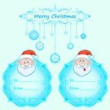 Κάρτες δώρων Άγιου Βασίλη Χριστούγεννα με τις εκλεκτής ποιότητας επιθυμίες πλαισίων και Χριστουγέννων τον αγγλικό χειμώνα Στοκ εικόνες με δικαίωμα ελεύθερης χρήσης