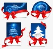 Κάρτες δώρων με τα κόκκινα τόξα Στοκ Φωτογραφία
