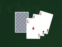 κάρτες pocker τρία άσσων Στοκ φωτογραφίες με δικαίωμα ελεύθερης χρήσης