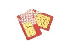 κάρτες sim δύο Στοκ Εικόνες
