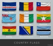 Κάρφωσε τη σημαία της χώρας που ζαρώθηκε με τις σκιές και τη βίδα Στοκ φωτογραφίες με δικαίωμα ελεύθερης χρήσης