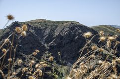 Κάρδοι και άσπρο χωριό στην οροσειρά Νεβάδα, νότια Ισπανία, Europ Στοκ εικόνα με δικαίωμα ελεύθερης χρήσης