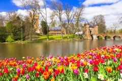 Κάστρα του Βελγίου - groot-Bijgaarden Στοκ Φωτογραφίες