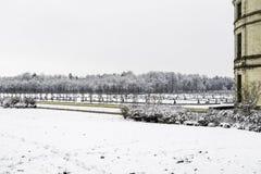 Κάστρα Chambord κάτω από το χιόνι το Φεβρουάριο, η κοιλάδα της Loire, Γαλλία στοκ εικόνες