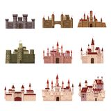 Κάστρα Srt, φρούριο, αρχαίοι, Μεσαίωνες Ευρώπη, μεσαιωνικά παλάτια αρχιτεκτονικής με τους υψηλούς πύργους και τις κωνικές στέγες απεικόνιση αποθεμάτων