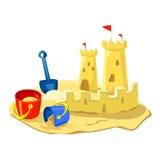 Κάστρο άμμου, παιχνίδια παραλιών που απομονώνονται απεικόνιση αποθεμάτων