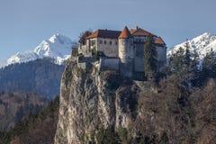 Κάστρο που αιμορραγείται μεσαιωνικό, Σλοβενία Στοκ Εικόνες