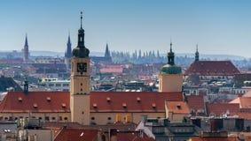 Κάστρο της Πράγας στο υπόβαθρο της πόλης Στοκ Εικόνες