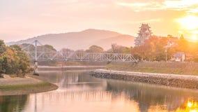 Κάστρο του Οκαγιάμα στην εποχή φθινοπώρου στην πόλη του Οκαγιάμα, Ιαπωνία στοκ φωτογραφία