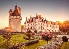 Κάστρο de Chenonceau στο ηλιοβασίλεμα, Γαλλία πύργων στοκ φωτογραφίες με δικαίωμα ελεύθερης χρήσης