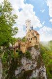 Κάστρο Lichtenstein Schloss στον απότομο βράχο Γερμανία Στοκ Εικόνες