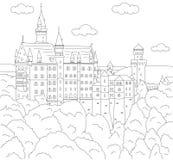 κάστρο neuschwanstein Χρωματίζοντας βιβλίο για τα παιδιά Στοκ Εικόνες