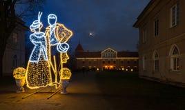 Κάστρο Raudondvaris, υπαίθρια σκηνή Λιθουανία νύχτας Χριστουγέννων Στοκ Εικόνα
