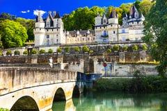 Κάστρο Usse παραμυθιού Όμορφα κάστρα της κοιλάδας της Loire σε φράγκο Στοκ Φωτογραφίες