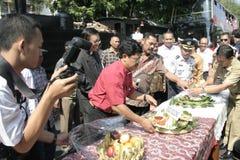 Κάτοικοι ημέρας των ευχαριστιών στην εκλογή του Προέδρου της Ινδονησίας Joko Widodo Στοκ Εικόνες