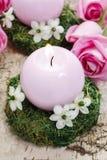 Κάτοχος κεριών φιαγμένος από βρύο, που διακοσμείται με τα αραβικά λουλούδια αστεριών Στοκ Φωτογραφίες