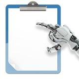 Κάτοχος μαξιλαριών εγγράφου και ρομποτικός βραχίονας Στοκ Εικόνες