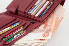 Κάτοχος με τα χρήματα και τις τραπεζικές κάρτες Στοκ φωτογραφίες με δικαίωμα ελεύθερης χρήσης
