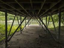 Κάτω από μια γέφυρα σε ένα πάρκο του Μόντρεαλ στοκ εικόνες