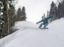 κάτω από την κίνηση snowboarder Στοκ Φωτογραφίες