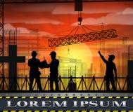Κάτω από τη σκιαγραφία εργατών οικοδομών στο ηλιοβασίλεμα Στοκ Εικόνες