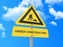 Κάτω από το σημάδι κατασκευής Στοκ φωτογραφία με δικαίωμα ελεύθερης χρήσης