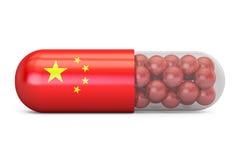 Κάψα χαπιών με τη σημαία της Κίνας Κινεζική έννοια υγειονομικής περίθαλψης, τρισδιάστατη απεικόνιση αποθεμάτων