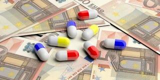 Κάψες χαπιών στο ευρο- υπόβαθρο τραπεζογραμματίων τρισδιάστατη απεικόνιση απεικόνιση αποθεμάτων