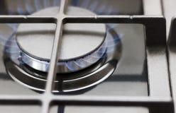 Κάψιμο αερίου σε έναν με γκάζι φανό Κινηματογράφηση σε πρώτο πλάνο Στοκ Εικόνες