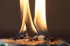 Κάψιμο δύο φλογών Στοκ Εικόνα