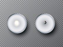 Κάψιμο και εξαφανισμένα κεριά τσαγιού που απομονώνονται στο διαφανές υπόβαθρο το σχέδιο εύκολο επιμελείται τα στοιχεία στο διάνυσ απεικόνιση αποθεμάτων
