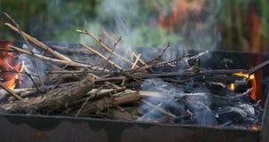 Κάψιμο καυσόξυλου στον ορειχαλκουργό Προετοιμασία σχαρών Καμμένος κινηματογράφηση σε πρώτο πλάνο φλογών φιλμ μικρού μήκους