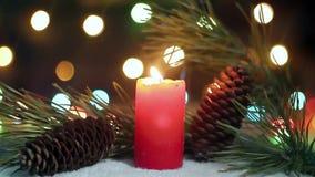 Κάψιμο κεριών Χριστουγέννων κοντά στο πεύκο απόθεμα βίντεο