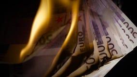 Κάψιμο πεντακόσιου ευρο- σε αργή κίνηση απόθεμα βίντεο