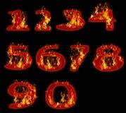 Κάψιμο πυρκαγιάς στον αραβικό αριθμό μηδέν έως εννέα Στοκ εικόνα με δικαίωμα ελεύθερης χρήσης