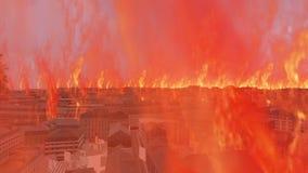Κάψιμο της τρισδιάστατης εικονικής παράστασης πόλης με τις φλόγες πυρκαγιάς απόθεμα βίντεο