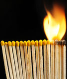 Κάψιμο matchsticks Στοκ φωτογραφία με δικαίωμα ελεύθερης χρήσης
