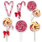 Κάλαμοι Lollipops και καραμελών, κολάζ Στοκ εικόνα με δικαίωμα ελεύθερης χρήσης