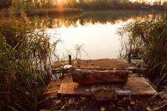 Κάλαμος εξεδρών, κούτσουρων και νερού Στοκ εικόνες με δικαίωμα ελεύθερης χρήσης
