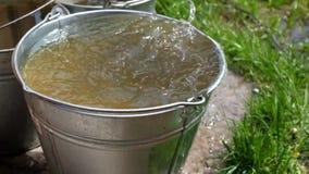 Κάδοι μετάλλων με το χυμένο νερό για τον κήπο απόθεμα βίντεο