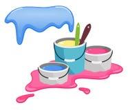 Κάδοι με το χρώμα παφλασμοί χρωμάτων Ευτυχείς εορτασμοί Holi απεικόνιση αποθεμάτων