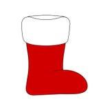Κάλτσα Χριστουγέννων, εικονίδιο μποτών santa, σύμβολο, σχέδιο Χειμερινή διανυσματική απεικόνιση στο άσπρο υπόβαθρο Στοκ Φωτογραφίες