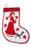 Κάλτσα Χριστουγέννων με έναν λευκό σαν το χιόνι Στοκ Εικόνες