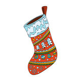 Κάλτσα Χριστουγέννων που διακοσμείται Απομονωμένος στο λευκό Στοκ φωτογραφίες με δικαίωμα ελεύθερης χρήσης