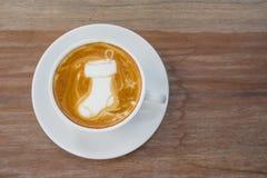 Κάλτσα Santa καφέ τέχνης Latte Στοκ φωτογραφίες με δικαίωμα ελεύθερης χρήσης