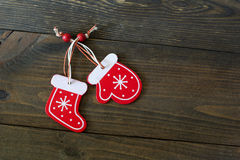 Κάλτσες και γάντια Χριστουγέννων Στοκ εικόνα με δικαίωμα ελεύθερης χρήσης