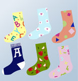 κάλτσες με τη σχολική τυπωμένη ύλη Στοκ Φωτογραφία