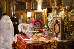 Κάλυκας για την κοινωνία στο ορθόδοξο μοναστήρι Κίεβο Στοκ Φωτογραφία
